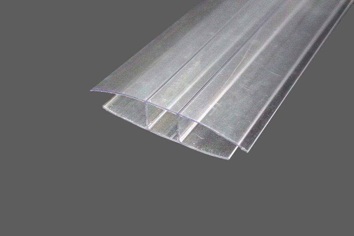 H-Profil aus Polycarbonat farblosklar für 16 mm Stegplatten
