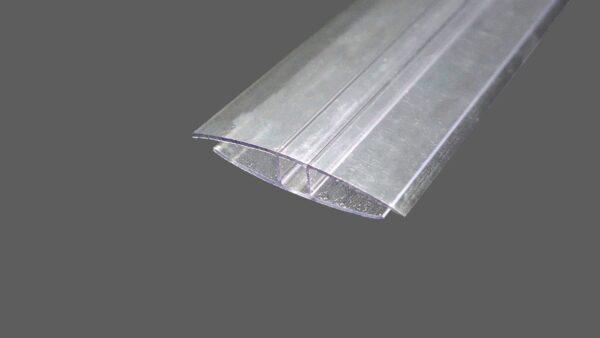 H-Profil aus Polycarbonat farblosklar für 8 mm Stegplatten