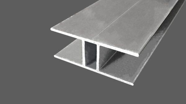 H-Profil aus Aluminum für 16 mm Stegplatten preßblank
