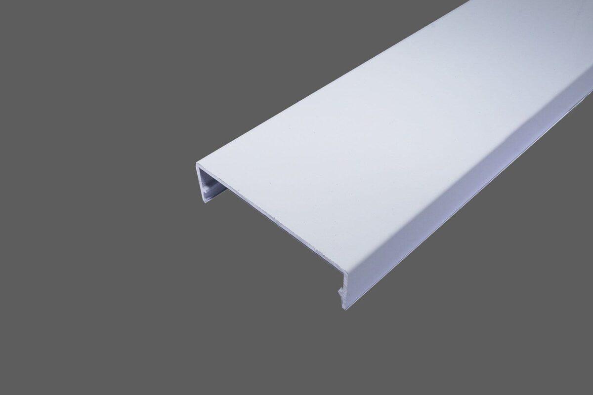 Klemmdeckel 60mm aus Aluminium weiß für alle Glas-Profilsysteme in 60mm Breite