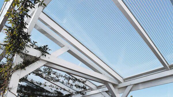 Terrassenüberdachung-Doppelstegplatten-16mm-klar-X-Struktur