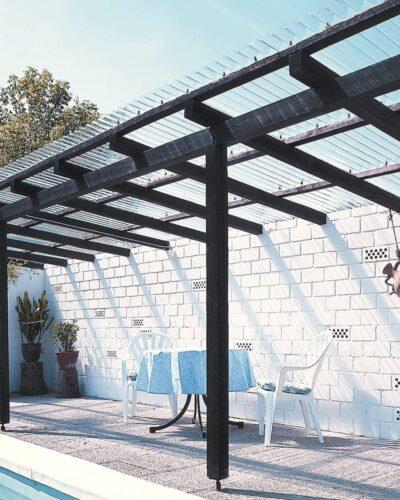 Terrassenüberdachung Wellplatten Acryl 3 mm farblos glatt
