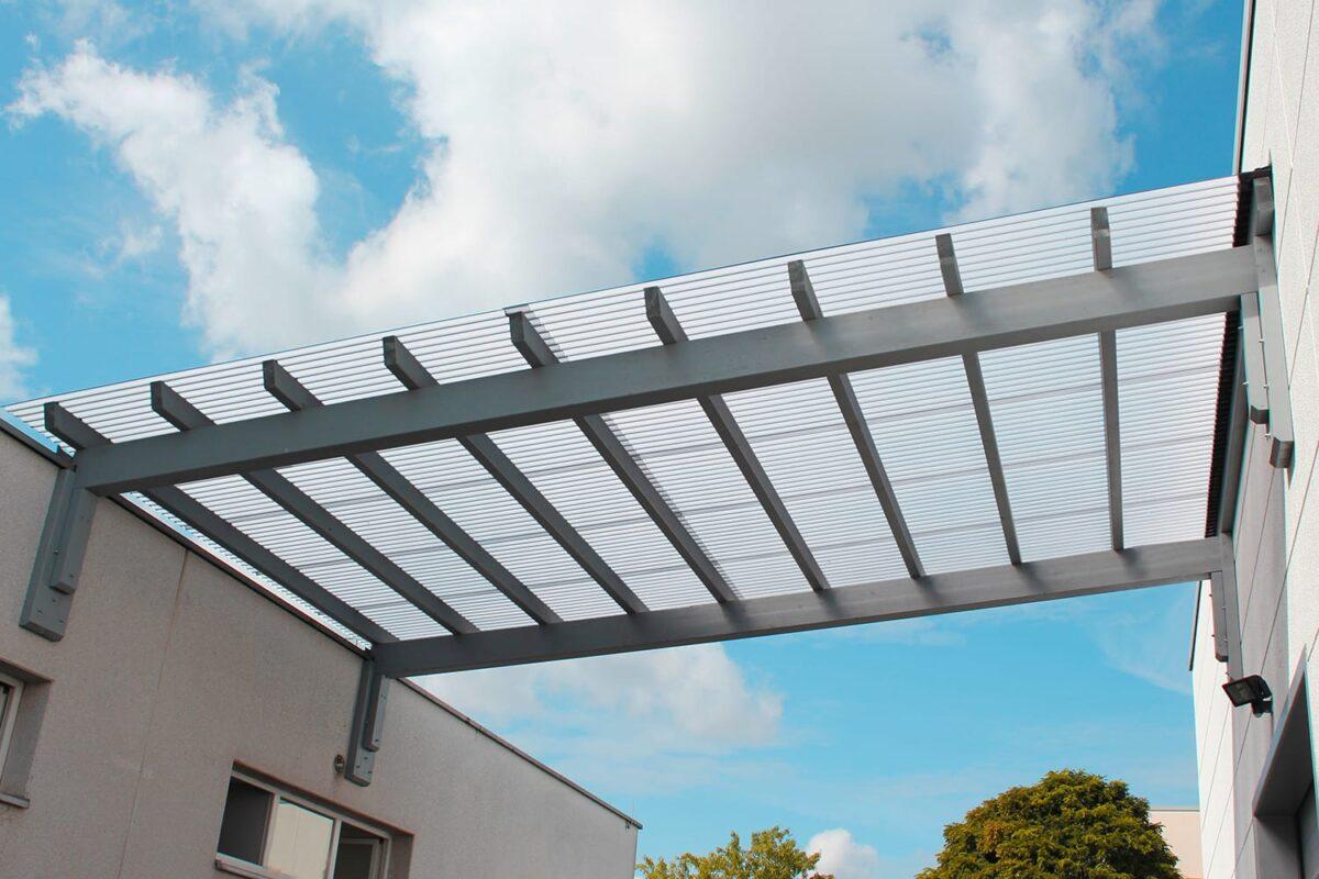 Terrassenüberdachung Wellplatten Acryl 3 mm klar wabenstruktur Welldachplatten