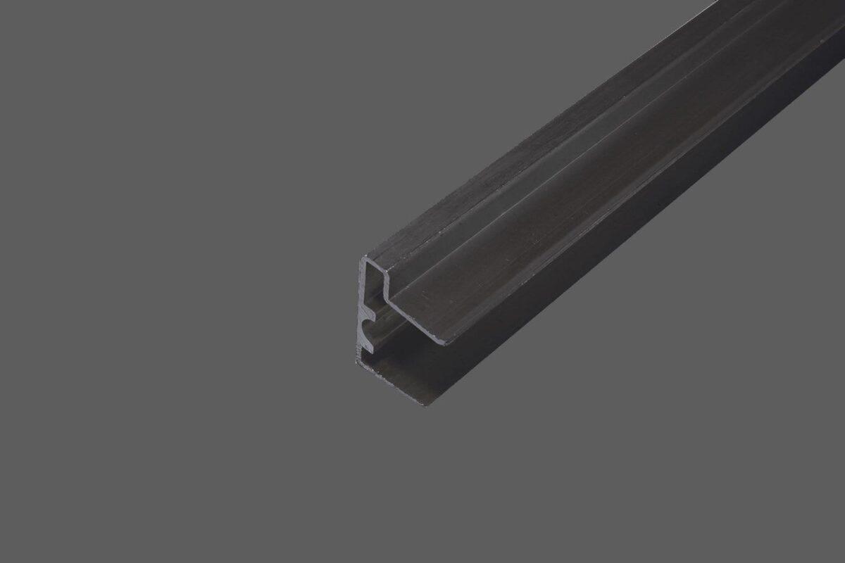 U-Abschlussprofil mit Tropfkante für 16 mm Stegplatten Aluminium braun Verschluß untere Seite der Stegplatten
