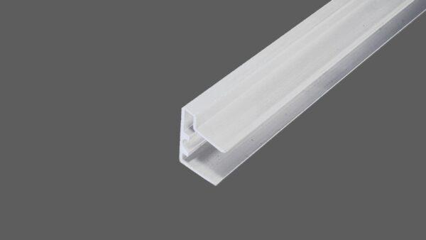 U-Abschlussprofil mit Tropfkante für 16 mm Stegplatten Aluminium weiß Verschluß obere Seite der Stegplatten