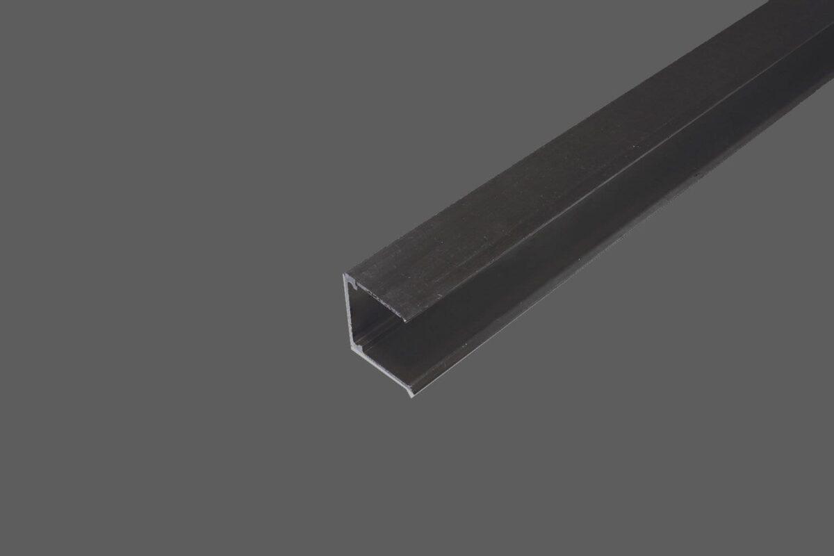 U-Abschlussprofil ohne Tropfkante für 16 mm Stegplatten Aluminium braun Verschluß obere Seite der Stegplatten