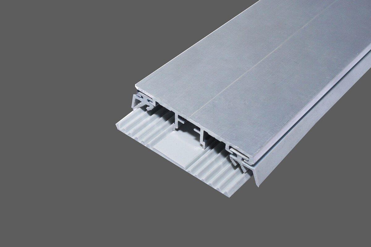 Universal Oberprofil 60mm Alu-Gummi für Platten in 10mm Stärke inkl. Lippendichtungen und TPR-Auflagegummi Typ A