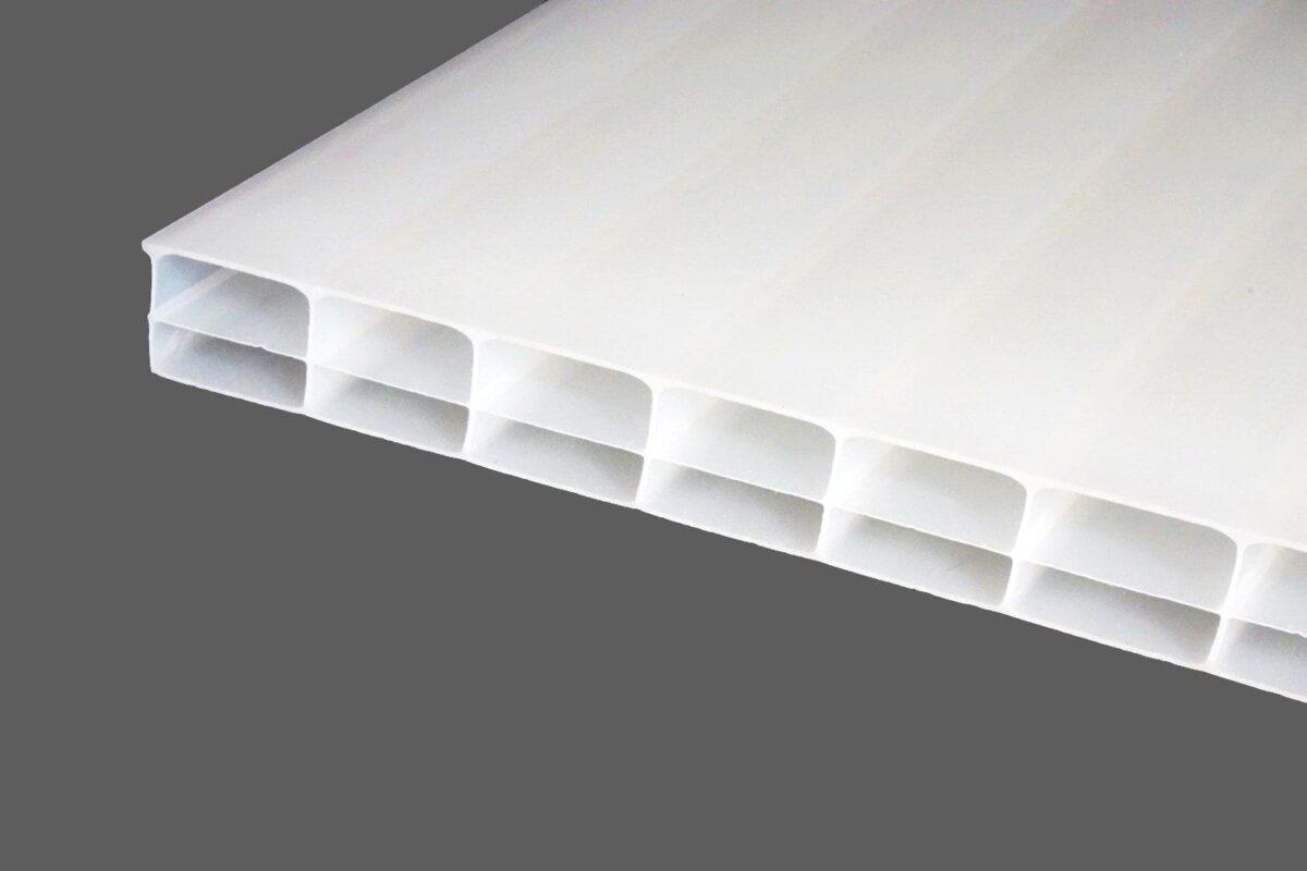 Polycarbonat-Doppelstegplatten-16-mm-opal-weiß-Longlife-3-fach-Struktur