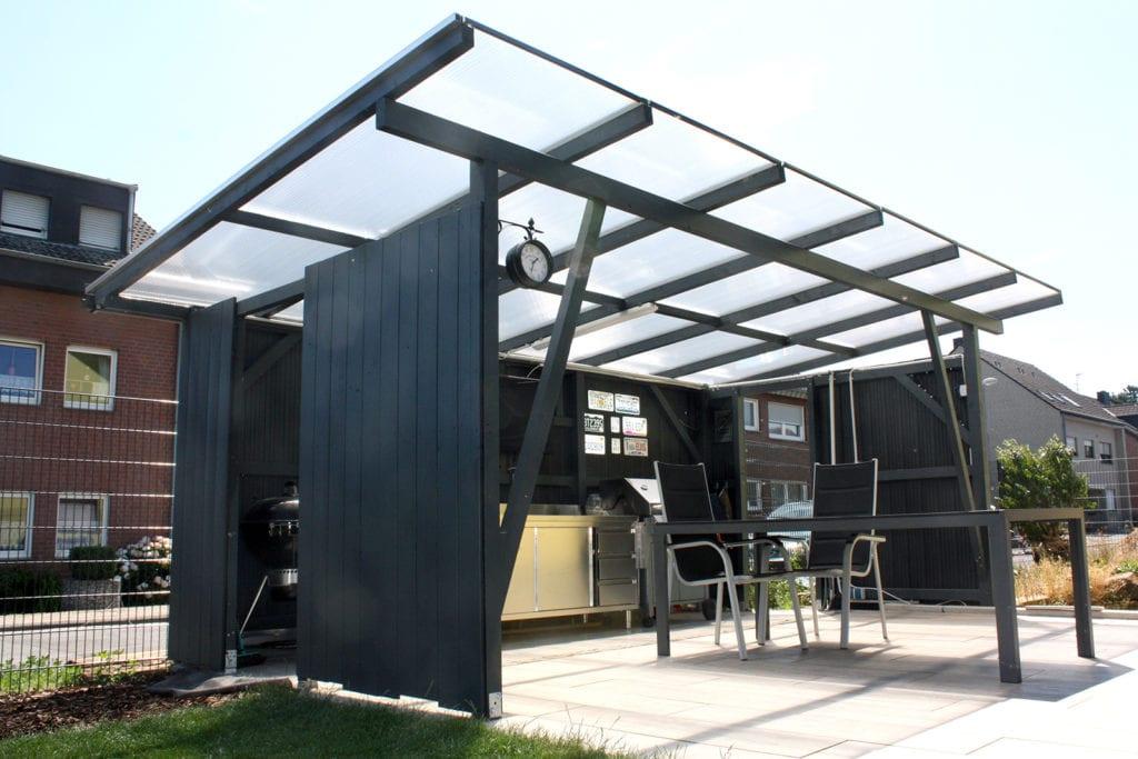 Polycarbonat Terrassenüberdachung Aus Doppelstegplatten Freistehend Auf Holz